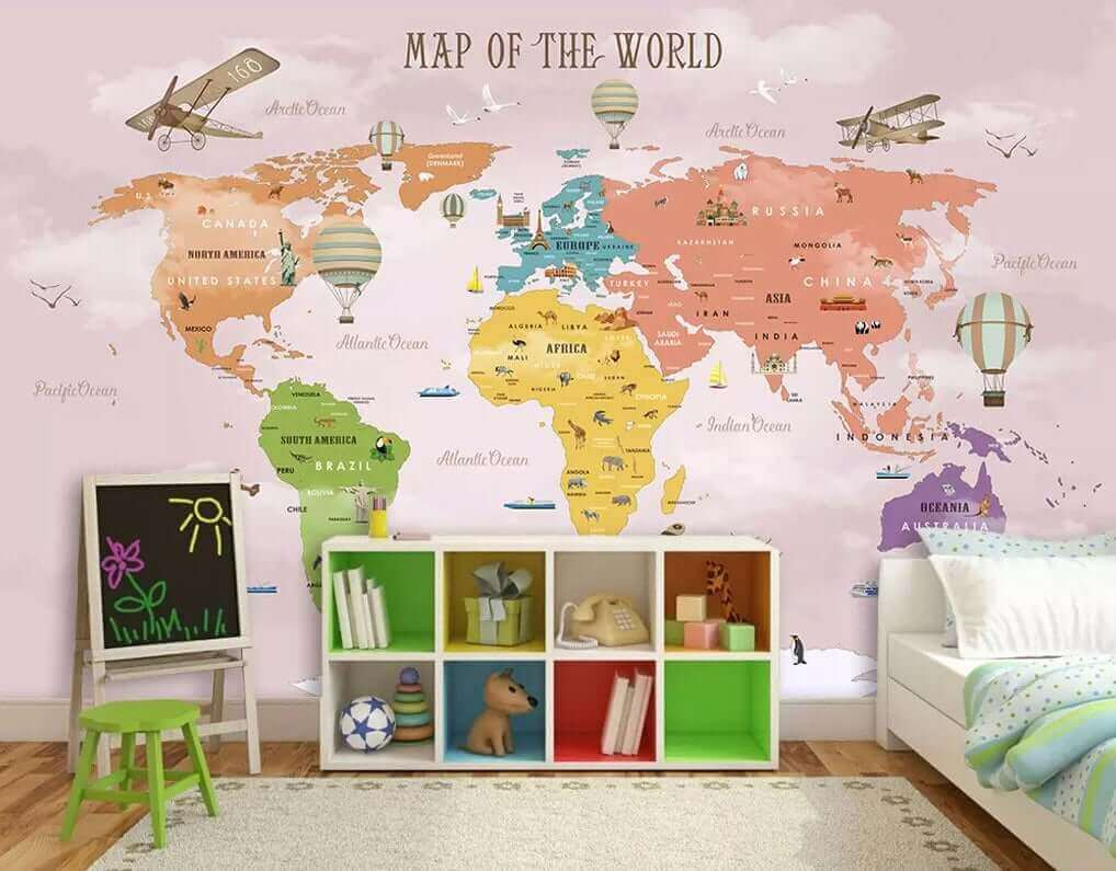 Colorful World Map by WallPro Customized wallpaper