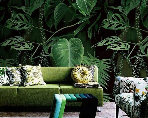 Rainforest palm leaves by WallPro Customized wallpaper