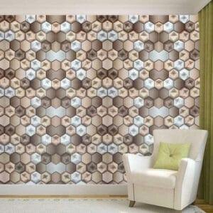 geometric wallpaper behind sofa