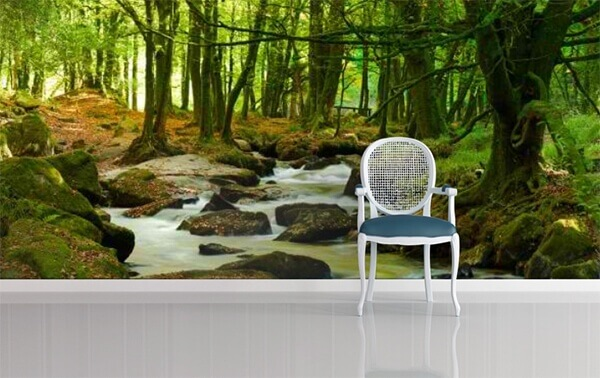 Waterfalls through Green Forest by WallPro Customized wallpaper